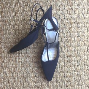 Stuart Weitzman Navy Fabric Evening Shoe